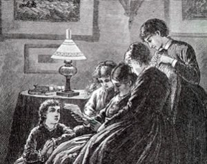 Frank Thayer Merrill's illustration of Marmee and the four sisters from Little Women, 1880 Roberts Brothers
