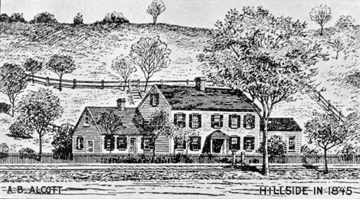 The Wayside, then known as Hillside, drawn by Bronson Alcott in 1845.