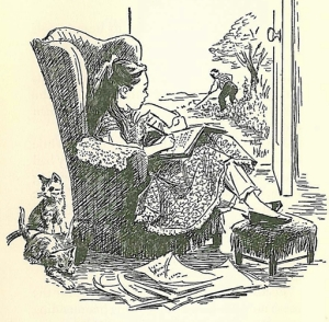 "Louisa's room at Hillside, dubbed ""Poet's Corner,"" illustration by Flora Smith for The Story of Louisa May Alcott by Joan Howard"