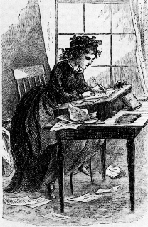 black and white illustration of Jo March writing