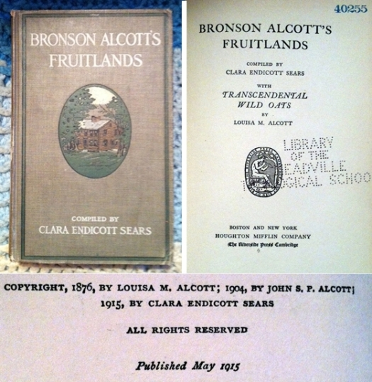 bronson alcott's fruitlands cover and inside with copyright
