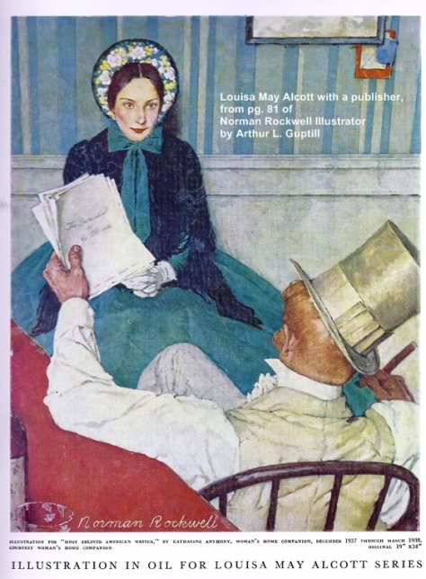 Louisa May Alcott with her publisher by Norman Rockwell