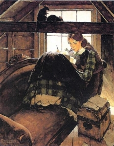 jo writing (norman rockwell)