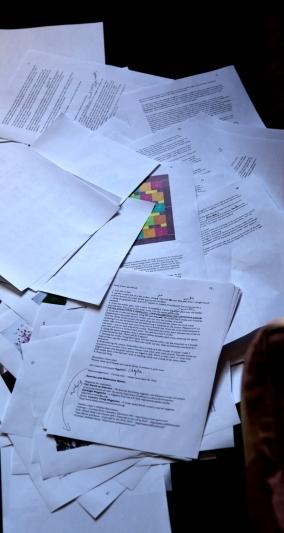 piles of manuscript