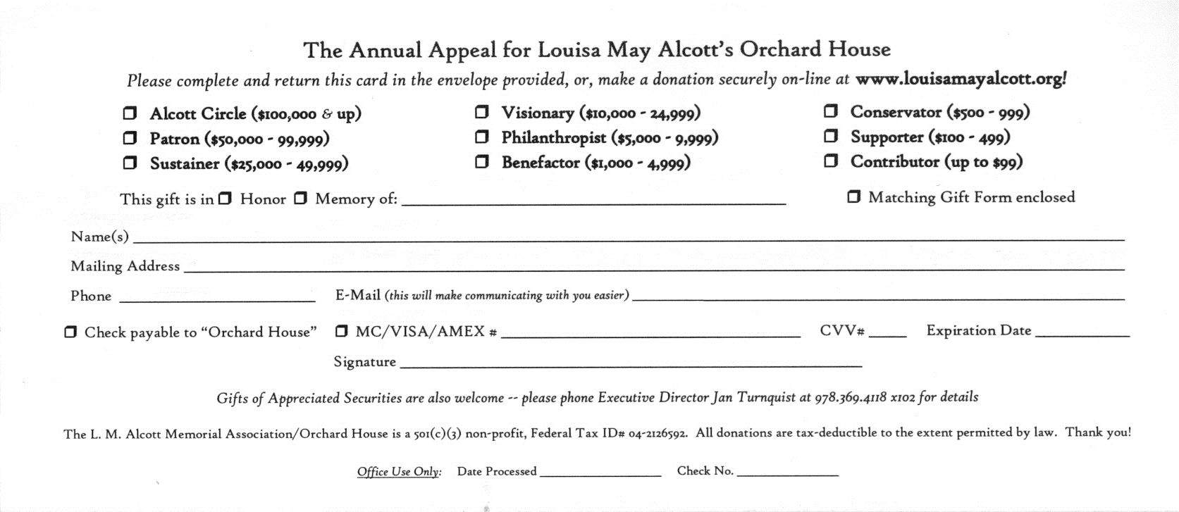 Louisa May Alcott's Orchard House Annual Appeal All Donations Received By  January 31, 2015 Will Still Count Toward The 2014 Appeal