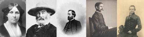 From left to right, Louisa May Alcott, Walt Whitman, Oliver Wendell Holmes, Jr. , Arthur Fuller, John Pelham