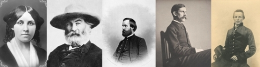 From left to right, Louisa May Alcott, Walt Whitman, Oliver Wendell Holmes, Jr. , Arthur Fuller, John Pelham