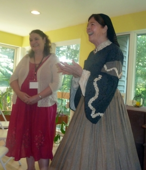 From left to right, Lis Adams, Education Director, and Jan Turnquist as Louisa May Alcott