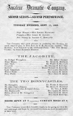 "This playbill lists the Alcott sisters in their roles. From ""Louisa May Alcott's Walpole"" by Ray Boas, town historian; used by permission."